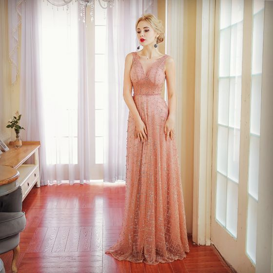 Elegant Pearl Pink Evening Dresses  2017 A-Line / Princess Glitter Lace Pearl Sash V-Neck Backless Sleeveless Floor-Length / Long Formal Dresses