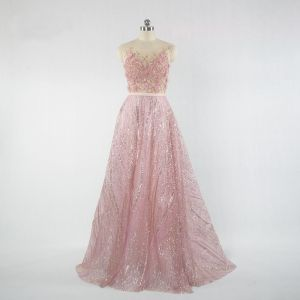 Elegant Candy Pink Prom Dresses 2018 A-Line / Princess Glitter Beading Crystal Rhinestone Lace Flower Appliques Scoop Neck Sleeveless Sweep Train Formal Dresses
