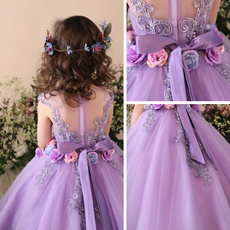 Chic / Beautiful Church Wedding Party Dresses 2017 Flower Girl Dresses Lilac Ball Gown Tea-length Scoop Neck Sleeveless Backless Lace Flower Appliques Sequins Pearl