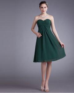 Chiffon Knee Length Ruffle Sweetheart Women Graduation Dress