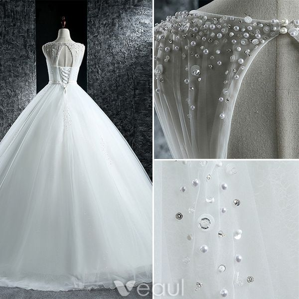 Elegant Wedding Dresses 2016 Ball Gown Scoop Neck Beading Sequins Pearls Ruffle Tulle Backless Bridal Gown