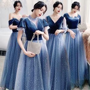 Affordable Ocean Blue Bridesmaid Dresses 2020 A-Line / Princess Backless Star Sequins Floor-Length / Long Ruffle