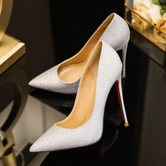 Charming Silver Evening Party Pumps 2019 Sequins 12 cm Stiletto Heels Pointed Toe Pumps