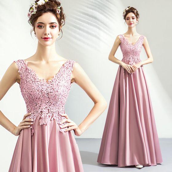 62738ab83 Sencillos Rosa Clara Vestidos de gala 2019 A-Line   Princess V-Cuello Con Encaje  Flor Sin Mangas Sin Espalda ...
