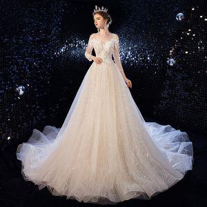 Charmant Champagne Robe De Mariée 2020 Princesse Encolure Dégagée Perlage Paillettes En Dentelle Fleur 3/4 Manches Dos Nu Tribunal Train