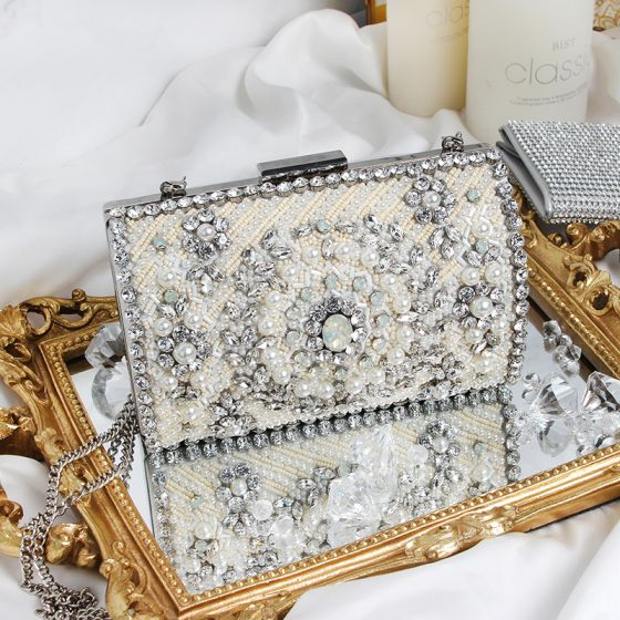 Luksus Sølv Perle Rhinestone Patent Lær Håndvesken  2019