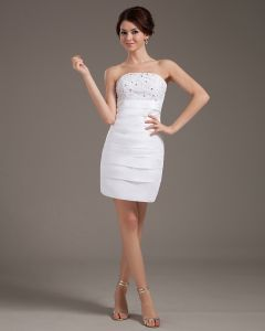 Satin Ruffle Strapless Thigh Length Short Bridal Gown Wedding Dress