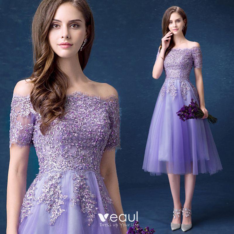 Affordable Lavender Bridesmaid Dresses 2018 A Line Princess Off The Shoulder Short Sleeve Sequins Beading Tea,Nordstrom Wedding Guest Dresses
