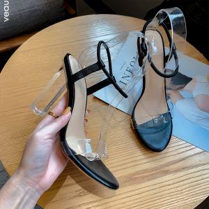 Sexet Sorte Streetwear Sandaler Dame 2020 Ankel Strop 9 cm Tykke Hæle Peep Toe Sandaler