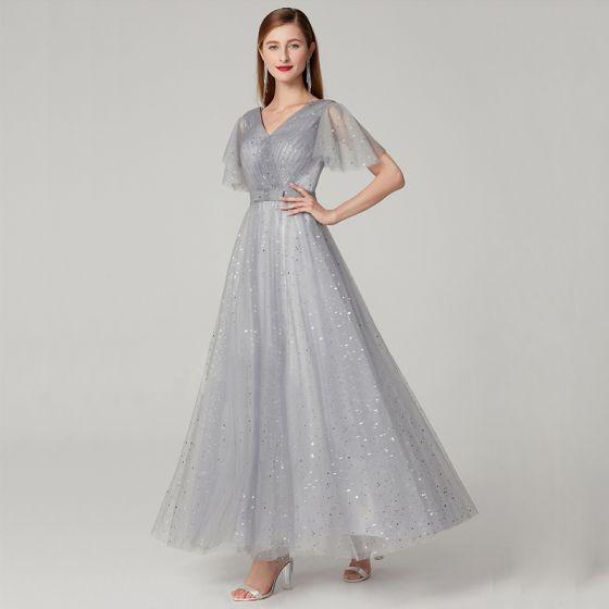 Sparkly Bling Bling Grey Evening Dresses  2020 A-Line / Princess Floor-Length / Long Short Sleeve V-Neck Star Glitter Sequins Cocktail Party Evening Party Formal Dresses