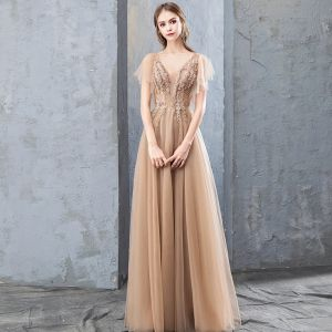 Mode Champagne Aftonklänningar 2019 Prinsessa Spets Blomma Appliqués Rhinestone V-Hals Halterneck Korta ärm Långa Formella Klänningar