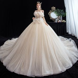 Chic / Beautiful Champagne Wedding Dresses 2020 Ball Gown Halter Sleeveless Backless Beading Glitter Tulle Cathedral Train Ruffle
