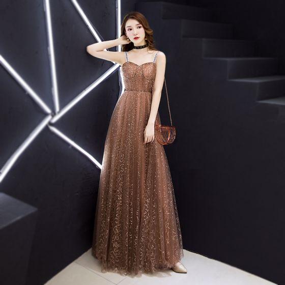 Moda Champán Vestidos de noche 2019 A-Line / Princess Sin Mangas Hombros Glitter Lentejuelas Largos Ruffle Sin Espalda Vestidos Formales