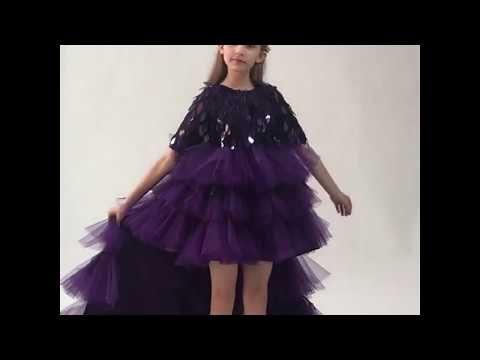 High Low Grape Flower Girl Dresses 2019 Ball Gown Scoop Neck 1/2 Sleeves Tassel Sequins Asymmetrical Cascading Ruffles Wedding Party Dresses