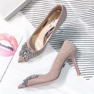 Moderne / Mode Perle Rose Soirée Escarpins 2018 Cuir Faux Diamant Paillettes 8 cm Talons Aiguilles À Bout Pointu Escarpins