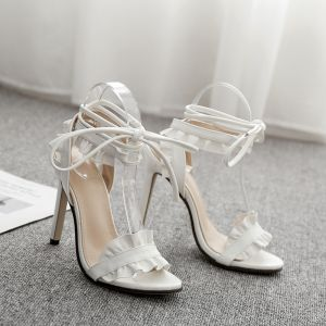 Chic / Beautiful Ivory Evening Party Womens Sandals 2020 Ankle Strap 11 cm Stiletto Heels Open / Peep Toe Sandals