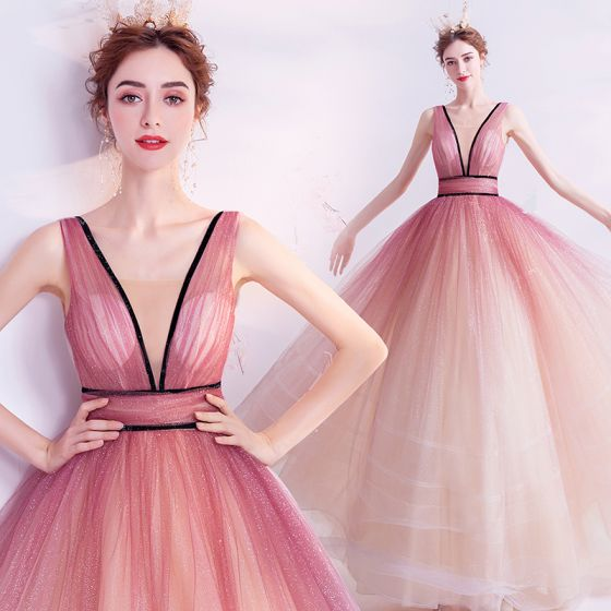 Charming Gradient-Color Candy Pink Prom Dresses 2020 Ball Gown V-Neck Glitter Sequins Sleeveless Backless Floor-Length / Long Formal Dresses