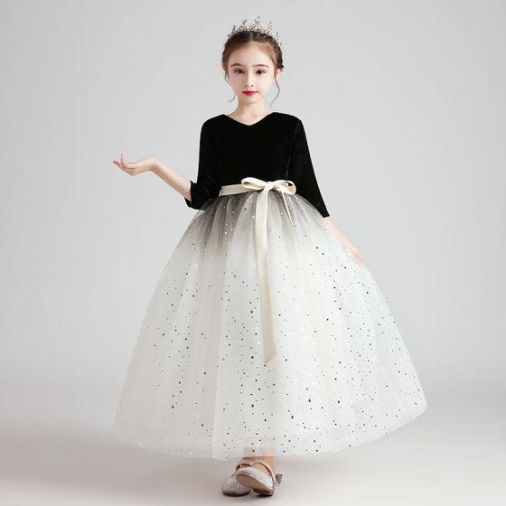 Chic / Beautiful Black White Suede Birthday Flower Girl Dresses 2020 Ball Gown 3/4 Sleeve V-Neck Star Sequins Sash Floor-Length / Long Ruffle