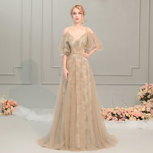 Elegant Champagne Evening Dresses  2019 A-Line / Princess Spaghetti Straps 1/2 Sleeves Sweep Train Ruffle Backless Formal Dresses