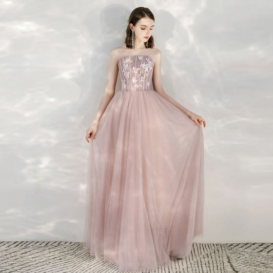 Elegant Rødmende Rosa Selskapskjoler 2020 Prinsesse Strapless Uten Ermer Sommerfugl Appliques Blonder Glitter Tyll Lange Formelle Kjoler