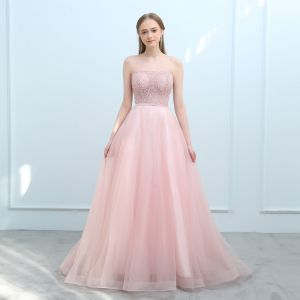 Modern / Fashion Pearl Pink Evening Dresses  2018 A-Line / Princess Sweetheart Sleeveless Sash Beading Court Train Ruffle Backless Formal Dresses