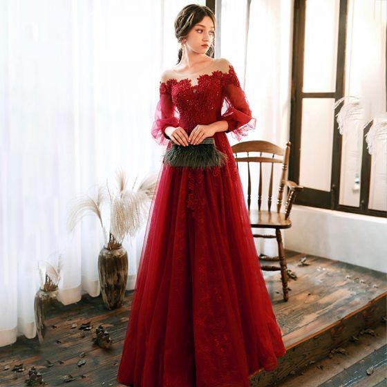 Eleganckie Czerwone Sukienki Wieczorowe 2020 Princessa Przezroczyste Wycięciem Bufiasta 3/4 Rękawy Aplikacje Z Koronki Frezowanie Długie Wzburzyć Bez Pleców Sukienki Wizytowe