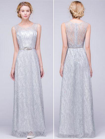 e3fa9d07c741 Glitter Aftonklänningar 2016 Halsringning Glitter Spets Backless Silver  Klänning Med Metallfolien Skärp