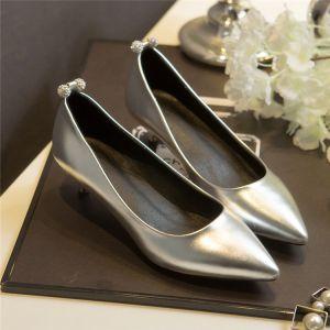 Elegante Silber Abend Pumps 2019 Strass 3 cm Stilettos Low Heel Spitzschuh Pumps