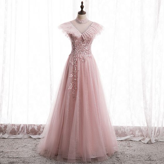Victorian Style Blushing Pink See-through Prom Dresses 2020 A-Line / Princess High Neck Sleeveless Appliques Lace Beading Glitter Tulle Floor-Length / Long Ruffle Backless Formal Dresses