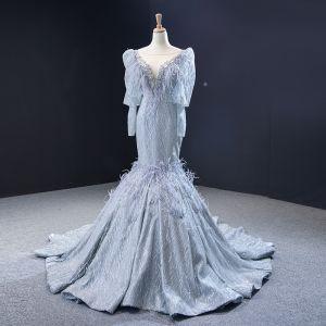 Luksusowe Szary Sukienki Wieczorowe 2020 Syrena / Rozkloszowane Przezroczyste Głęboki V-Szyja Bufiasta Długie Rękawy Pióro Frezowanie Cekinami Tiulowe Trenem Sąd Wzburzyć Bez Pleców Sukienki Wizytowe