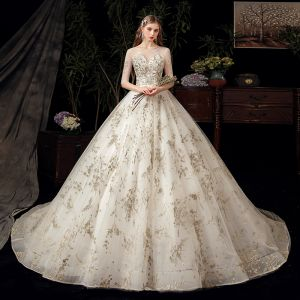 Chic / Beautiful Ivory Bridal Wedding Dresses 2020 Ball Gown See-through Scoop Neck 1/2 Sleeves Backless Appliques Sequins Chapel Train Ruffle