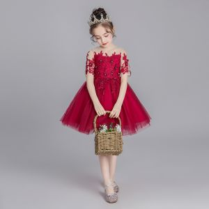 Chic / Beautiful Burgundy See-through Flower Girl Dresses 2019 Ball Gown Scoop Neck Short Sleeve Appliques Lace Rhinestone Short Ruffle Wedding Party Dresses