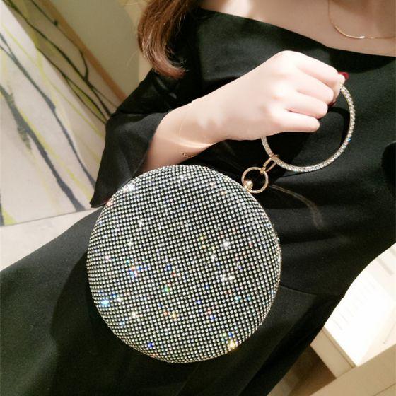 Fashion Black Rhinestone Round Clutch Bags 2020