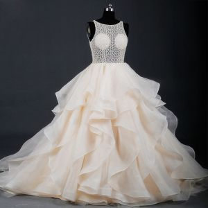 Classy Luxury / Gorgeous Champagne Court Train Wedding 2018 X-Strap U-Neck Tulle Puffy Backless Beading Pierced Ball Gown Wedding Dresses
