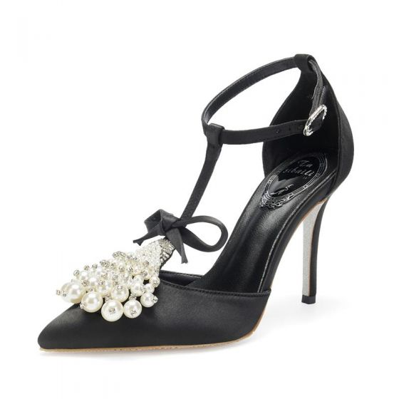 Mode Sorte Galla Sandaler Dame 2020 Læder Sløjfe T-Strap Perle Rhinestone 9 cm Stiletter Spidse Tå Sandaler