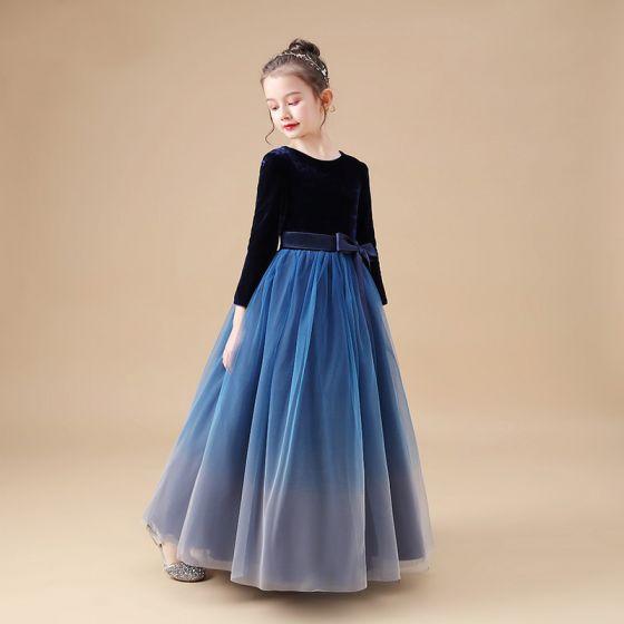 Proste / Simple Granatowe Welur Zima Sukienki Dla Dziewczynek 2020 Princessa Wycięciem Długie Rękawy Kokarda Szarfa Długie Wzburzyć