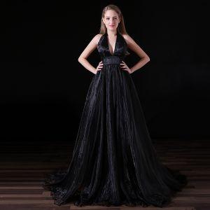 Sexy Noire Robe De Soirée 2018 Princesse V-Cou Titulaire Dos Nu Sans Manches Tribunal Train Robe De Ceremonie