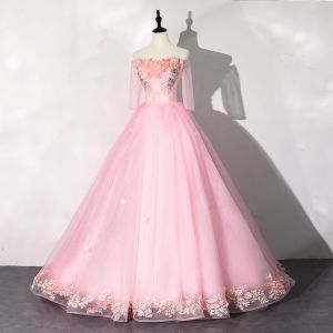 Flower Fairy Candy Pink Prom Dresses 2020 Ball Gown Off-The-Shoulder Pearl Rhinestone Appliques Lace Flower 1/2 Sleeves Backless Floor-Length / Long Formal Dresses