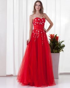 Sweetheart Embroidery Floor Length Tulle Woman Prom Dress