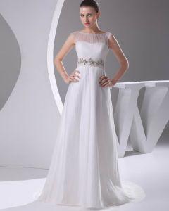 Elegant Satin Tyl Plisserede Rhinestones Bateau Gulv Længde Brudekjole