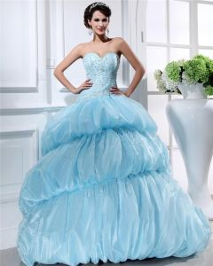 Ball Gown Sweetheart Sleeveless Chapel Train Organza Beading Womens Quinceanera Prom Dresses