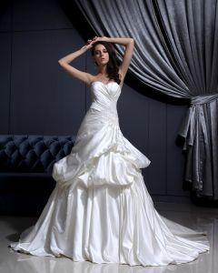 Bez Rekawow Satyna Falbany Aplikacja Kochanie Kaplicy Pociag-line Suknie Ślubne Suknia Ślubna Princessa