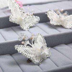 Papillon Blanc Rhinestone La Coiffe De Mariée / Fleur Tete / Accessoires De Cheveux De Mariage / Bijoux De Mariage