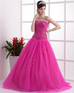 Ball Gown Sleeveless Mesh Embroidery Ruffles Applique Sweetheart Floor Length Quinceanera Prom Dresses