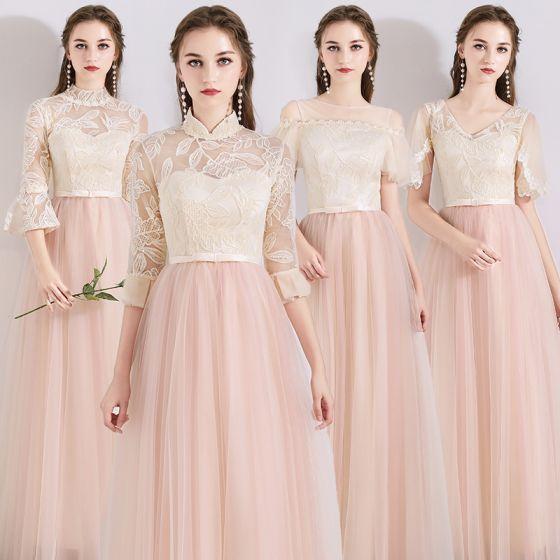 Piękne Różowy Perłowy Przezroczyste Sukienki Dla Druhen 2019 Princessa Aplikacje Z Koronki Kokarda Szarfa Długie Wzburzyć Bez Pleców Sukienki Na Wesele