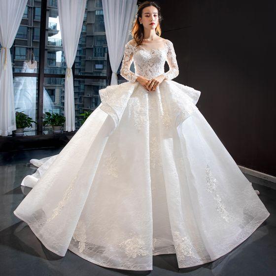 Iluzja Białe Przezroczyste ślubna Suknie Ślubne 2020 Suknia Balowa Kwadratowy Dekolt Długie Rękawy Bez Pleców Aplikacje Z Koronki Frezowanie Trenem Kaplica Wzburzyć