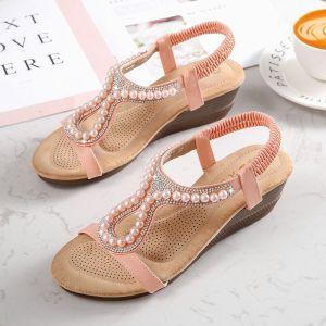 Chic / Beautiful Summer Black Beach Slipper & Flip flops 2020 Rhinestone Lace Flower Open / Peep Toe Womens Sandals