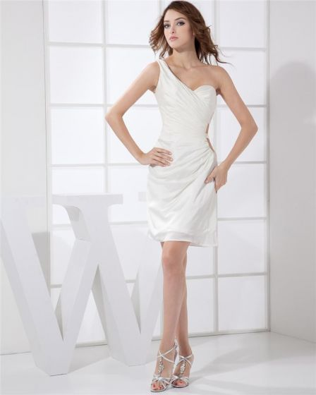 Sloping Neckline Sleeveless Thigh Length Pleat Taffeta Woman Cocktail Party Dress