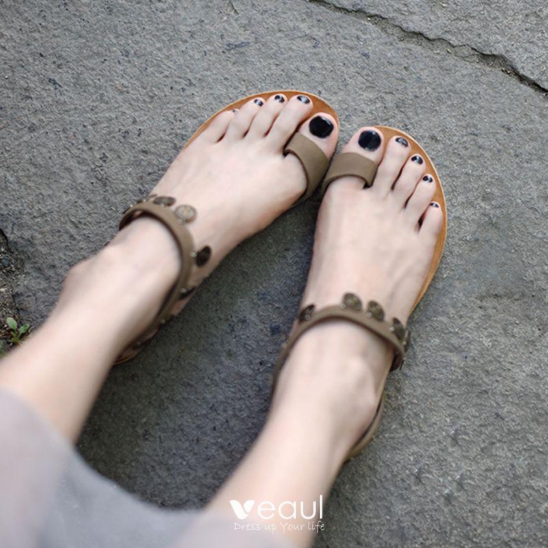 f5782f72ad01a Vintage / Retro Bronze Womens Sandals 2019 Beach Outdoor / Garden ...