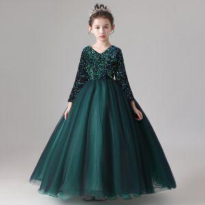 Piękne Ciemnozielony Sukienki Dla Dziewczynek 2020 Suknia Balowa Wycięciem Długie Rękawy Cekiny Długie Wzburzyć